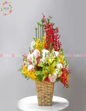 Lẵng Hoa Chúc Mừng - D140844 - xinhtuoi.online
