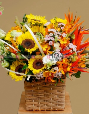 Lẵng Hoa Chúc Mừng - D141039 - xinhtuoi.online