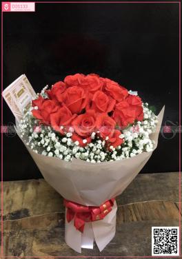 Bó hồng đỏ viền bi Hà Lan - D31133 - xinhtuoi.online