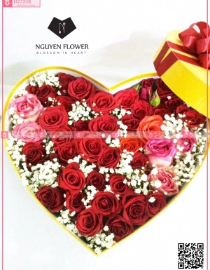 Hộp hoa hồng trái tim - D27358 - xinhtuoi.online