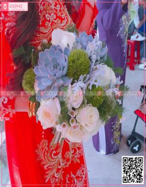 Hoa cưới phối sen đá - D30942 - xinhtuoi.online