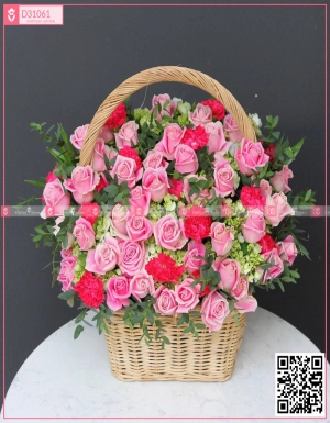 giỏ hoa hồng - D31061 - xinhtuoi.online