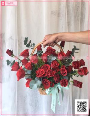 Lẵng hoa hồng đỏ - D36888 - xinhtuoi.online