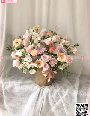 Lẵng hoa pastel - D37069 - xinhtuoi.online
