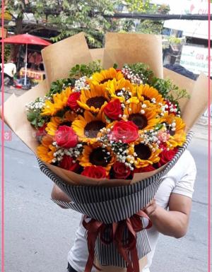 Hướng dương, hồng , hoa baby - D60012 - xinhtuoi.online