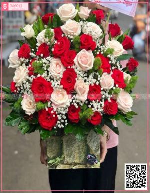 Hoa hồng đỏ, hồng kem dâu, hoa baby - D60013 - xinhtuoi.online