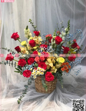 Giỏ Hoa Chúc Mừng - D124668 - xinhtuoi.online
