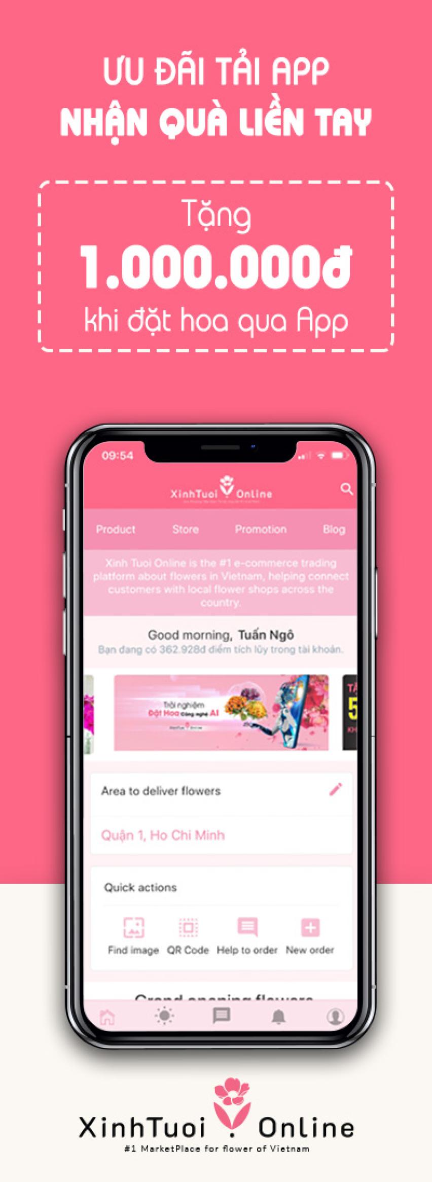 Tải App Đặt Hoa - Nhận quà bao la