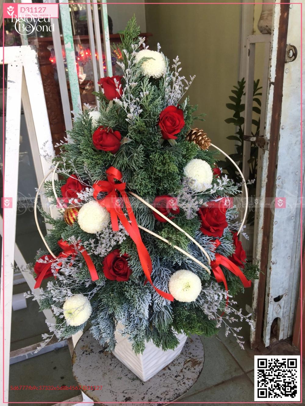chậu thông noel bằng hoa lá tươi - D31127 - xinhtuoi.online