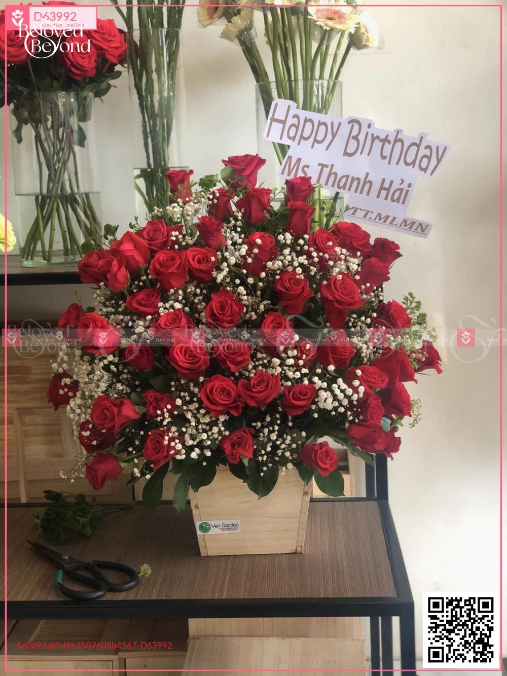 Lẵng hồng đỏ - D63992 - xinhtuoi.online