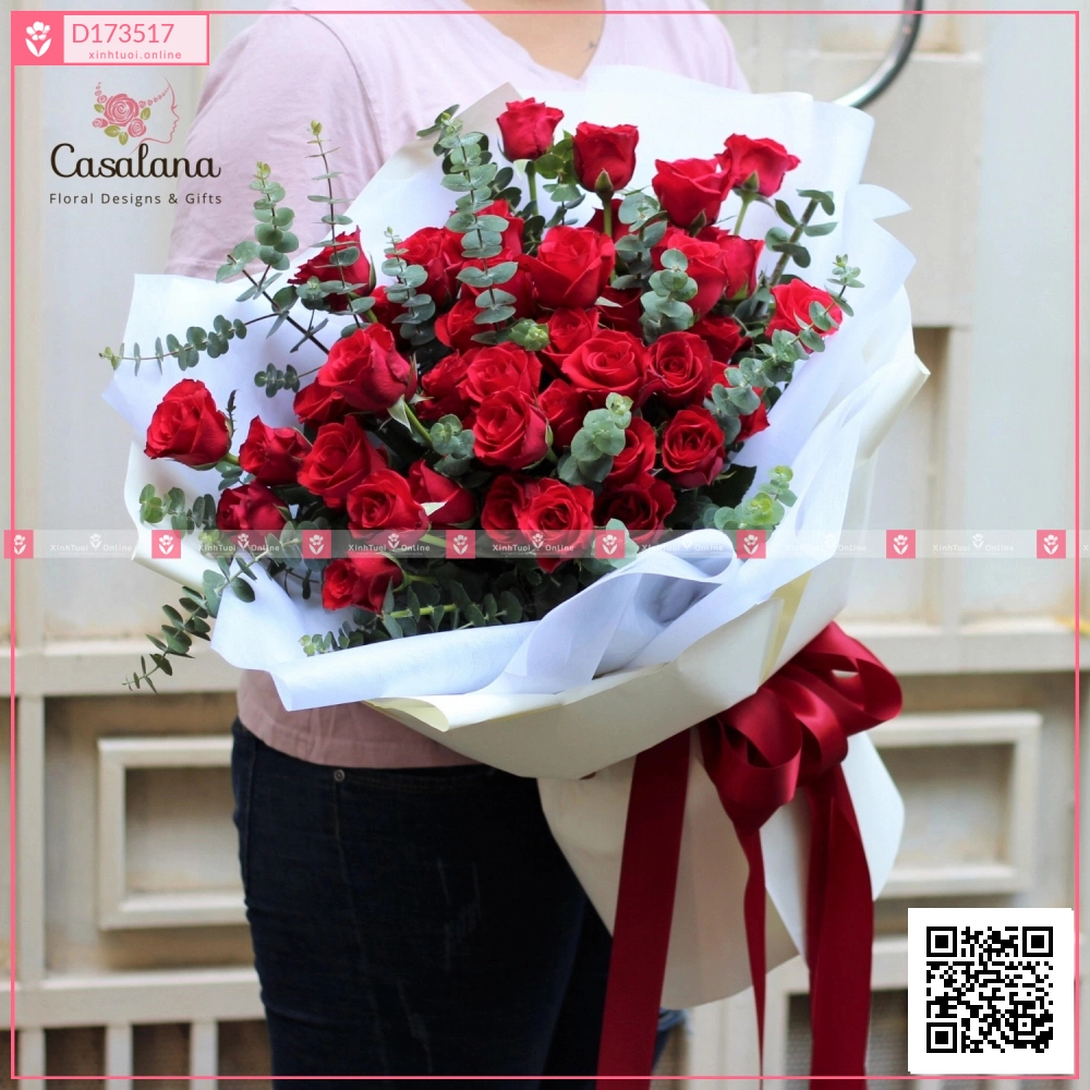 Bó hồng đỏ Mono - D173517 - xinhtuoi.online
