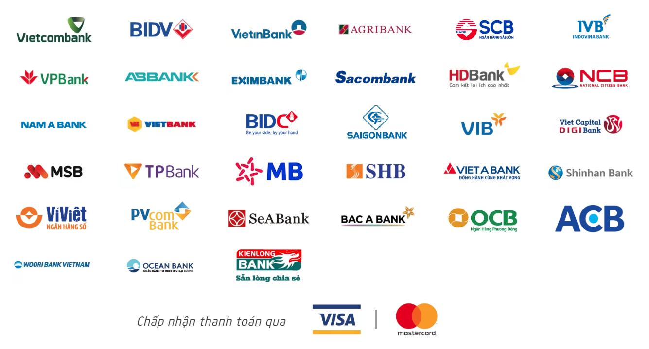 Chấp nhận thanh toán Online qua các ngân hàng